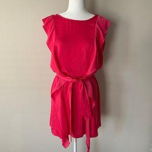 BCBGMaxAzria Danise Ruffle Tie Waist Fuchsia Dress